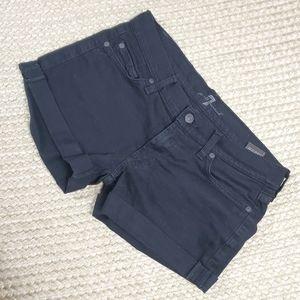 7 for all Mankind Black Denim Jean Shorts Sz 27